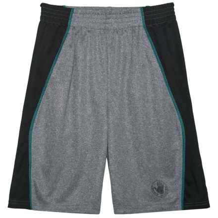 Body Glove Grey and Teal Stripe Active Shorts (For Big Boys) in Grey - Closeouts