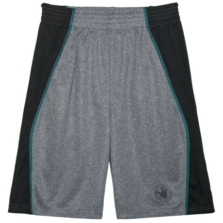Body Glove Grey and Teal Stripe Active Shorts (For Big Boys) in Grey