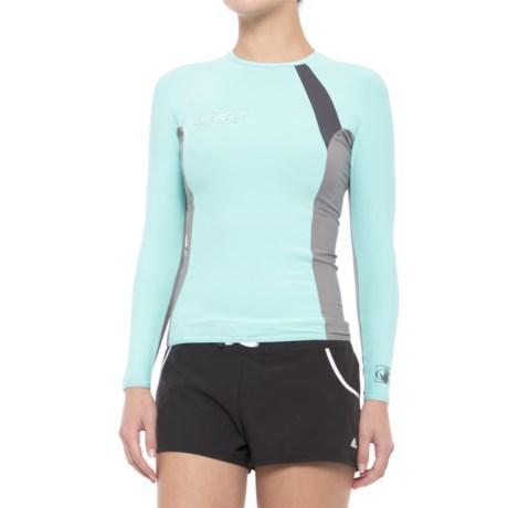 Body Glove High-Performance Rash Guard - UPF 50, Long Sleeve (For Women) in Blue/Grey