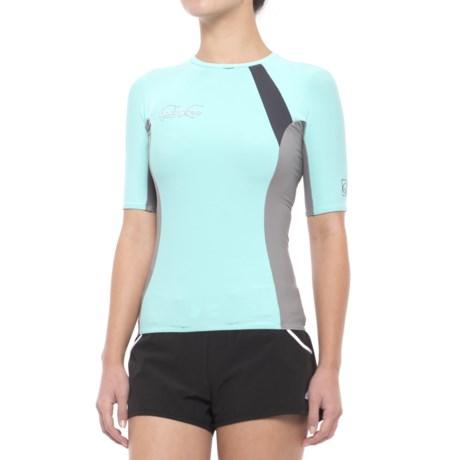 Body Glove High-Performance Rash Guard - UPF 50, Short Sleeve (For Women) in Blue/Grey