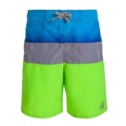 Body Glove Large Stripe Boardshorts (For Big Boys) in Blue/Grey/Bright Green - Closeouts