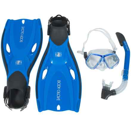 Body Glove Priflex-TPR Enlighten Fin, Mask and Snorkel Set (For Men and Women) in Blue - Closeouts