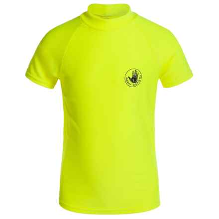 Body Glove Rash Guard Shirt - Short Sleeve (For Big Boys) in Yellow - Closeouts