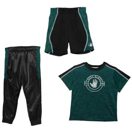Body Glove Shirt, Shorts and Joggers Set - 3-Piece, Short Sleeve (For Little Boys) in Teal - Closeouts