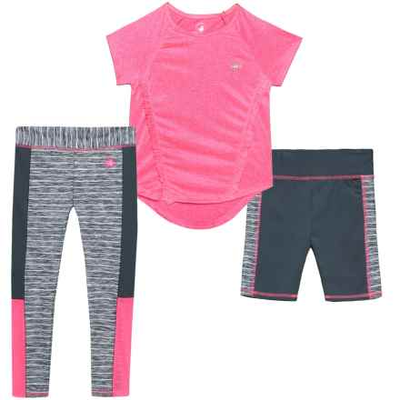 Body Glove Shirt, Shorts and Leggings Set - 3-Piece, Short Sleeve (For Little Girls) in Pink - Closeouts