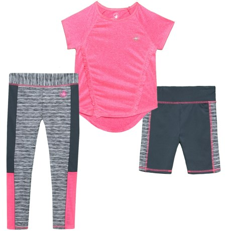 Body Glove Shirt, Shorts and Leggings Set - 3-Piece, Short Sleeve (For Little Girls) in Pink