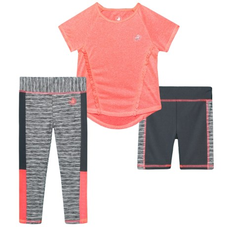 Body Glove Shirt, Shorts and Leggings Set - 3-Piece, Short Sleeve (For Toddler Girls) in 806 Coral