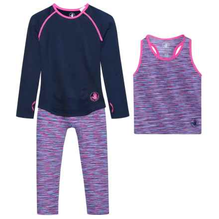 Body Glove Shirt, Tank Top and Leggings Set - Long Sleeve (For Little Girls) in Navy - Closeouts