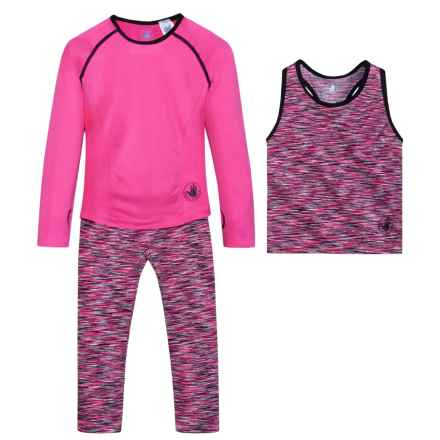 Body Glove Shirt, Tank Top and Leggings Set - Long Sleeve (For Little Girls) in Pink - Closeouts