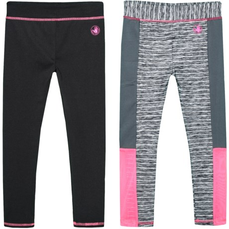 Body Glove Striped and Solid Leggings - Set of 2 (For Big Girls) in Multi
