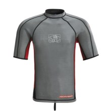 Body Glove Super Rover Surf Shirt - 1mm, Reversible, Short Sleeve (For Men) in Dark Grey/Red/Black - Closeouts