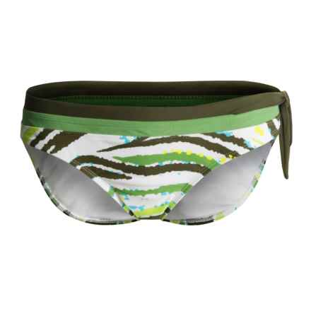 Body Glove Surf Rider Bikini Bottoms - Swept Away (For Women) in Kiwi / Olive / White Multi Wavey Stripe Print - Closeouts