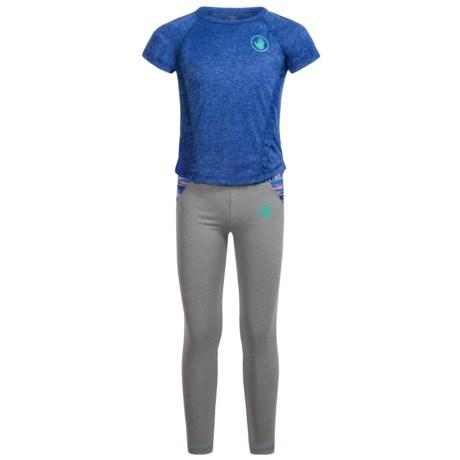 Body Glove T-Shirt and Leggings Activewear Set - Short Sleeve (For Little Girls) in Multi