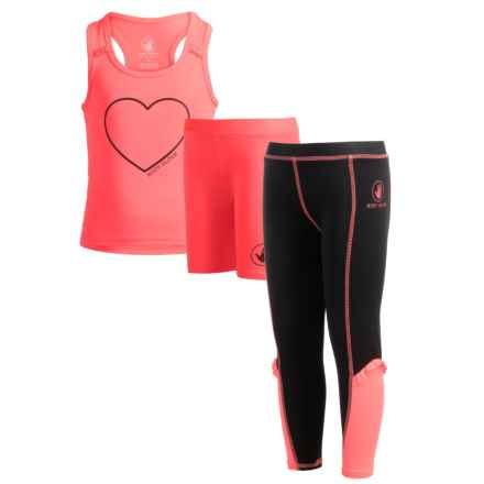 Body Glove Tank Top, Shorts and Leggings Active Set - 3-Piece (For Little Girls) in Coral - Closeouts