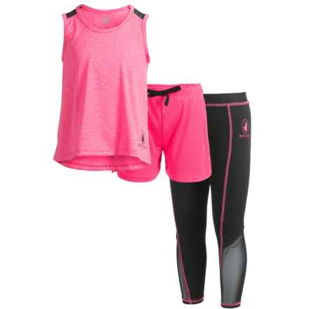 Body Glove Tank Top, Shorts and Leggings Active Set - 3-Piece (For Little Girls) in Pink - Closeouts