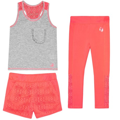 Body Glove Tank Top, Shorts and Leggings Set (For Little Girls) in Coral