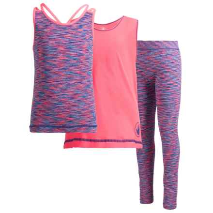 Body Glove Tank Top, T-Shirt and Leggings Active Set - 3-Piece (For Big Girls) in Coral - Closeouts