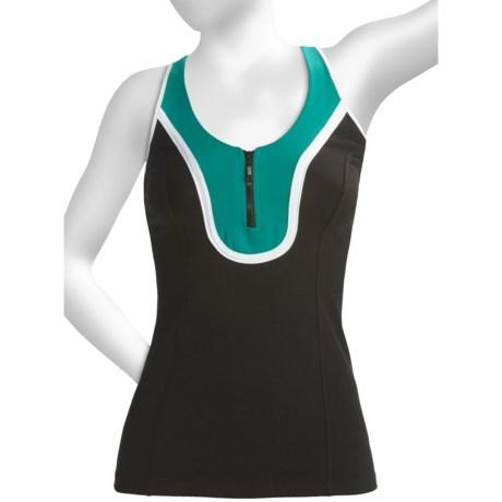 Body Up 5K Tank Top - Zip Neck (For Women) in Black/Green