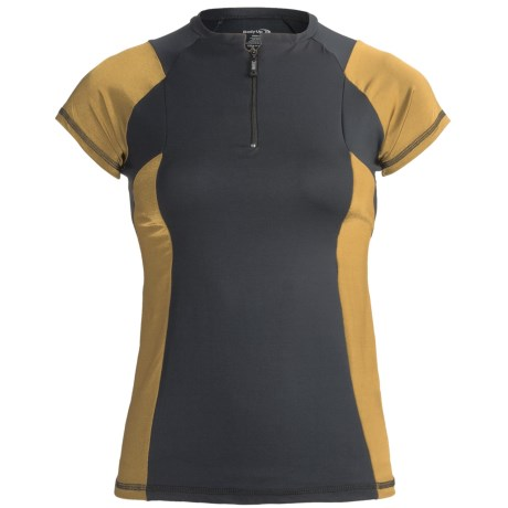 Body Up Ciao Zip Shirt - Short Sleeve (For Women) in Black/Gold