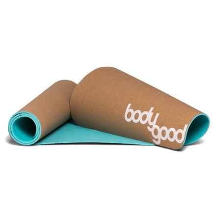 BodyGood Cork Yoga Mat in Cork/Cockatoo/White