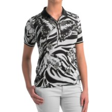 Bogner Coco Printed Golf Polo Shirt - Short Sleeve (For Women) in Black Butterfly - Closeouts