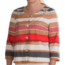 Bogner Conny Stretch Cotton Jacket - 3/4 Sleeve (For Women) in Orange Print - Closeouts