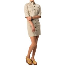 Bogner Gail Stretch Cotton Dress - Elbow Sleeve (For Women) in Khaki - Closeouts