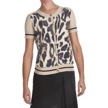 Bogner Giana Golf Cardigan Sweater - Short Sleeve (For Women) in Khaki Leopard Print - Closeouts