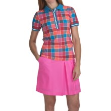 Bogner Josina Golf Polo Shirt - Short Sleeve (For Women) in Pink/Orange/Blue Check - Closeouts