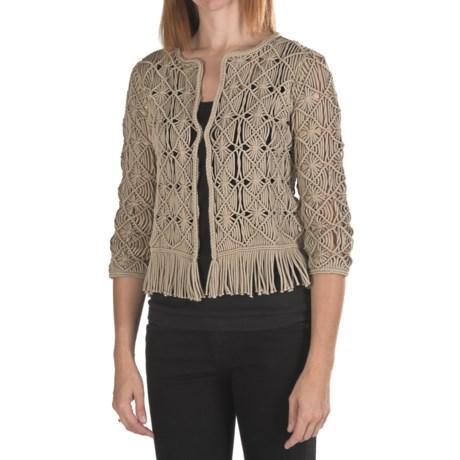 Bogner Lene Fringed Open-Weave Sweater (For Women) in Smoke Grey