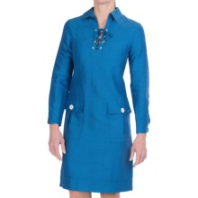 Bogner Leonella Cotton-Linen-Silk Dress - Long Sleeve (For Women) in Aqua Blue - Closeouts