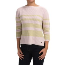 Bogner Liara Shimmer Stripe Sweater - Wool-Cashmere, 3/4 Sleeve (For Women) in Pink/Gold - Closeouts