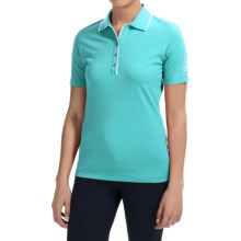 Bogner Natty Golf Polo Shirt - Swarovski® Crystals, Short Sleeve (For Women) in Turquoise - Closeouts