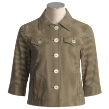 Bogner Rosara Cotton Jacket (For Women) in Olive Pinstripe - Closeouts