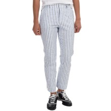 Bogner Rosi Piquet Cropped Golf Pants (For Women) in White/Blue Stipe - Closeouts