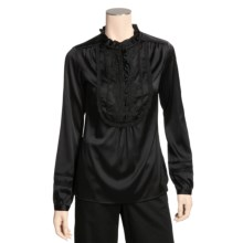Bogner Stretch Gaetana Shirt - Silk-Satin, Long Sleeve (For Women) in Black - Closeouts