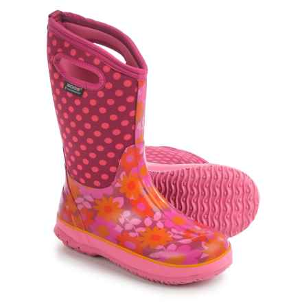 Bogs Flower Dots Rain Boots - Waterproof, Rubber, Neoprene (For Big Girls) in Cherry - Closeouts