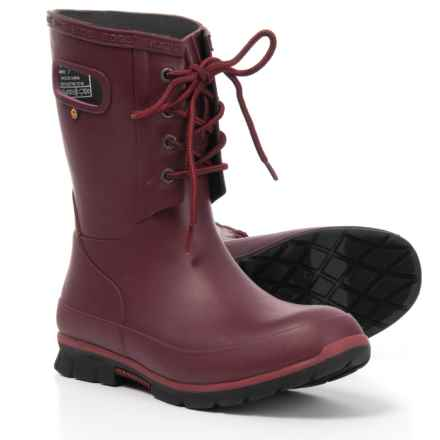 Bogs Footwear Amanda Lace Rain Boots - Waterproof (For Women) in Burgundy - Closeouts