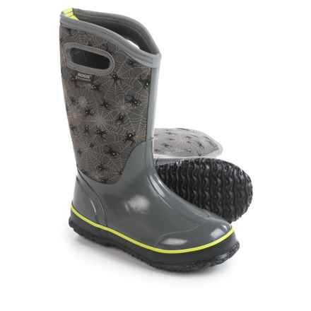 Bogs Footwear Classic Creepy Crawler Insulated Rain Boots - Waterproof (For Big Kids) in Gray Multi - Closeouts