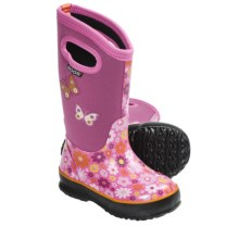 Bogs Footwear Classic High Daisy Rain Boots - Waterproof (For Kid and Youth Girls) in Pink - Closeouts
