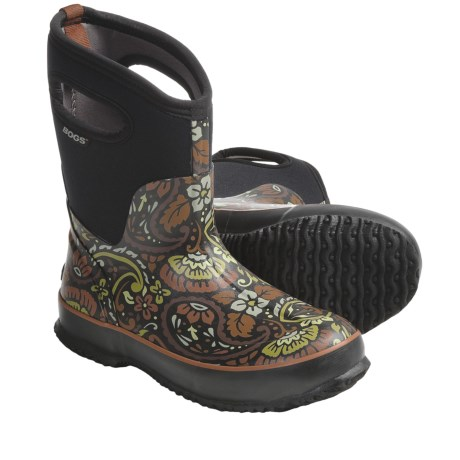 Bogs Footwear Classic Mid Tuscany Rubber Boots - Waterproof, Insulated (For Women) in Black/Brown