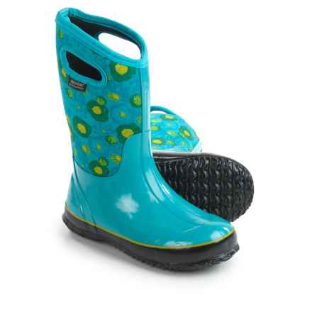 Bogs Footwear Classic Watercolor Insulated Rain Boots - Waterproof (For Big Girls) in Turquoise Multi - Closeouts