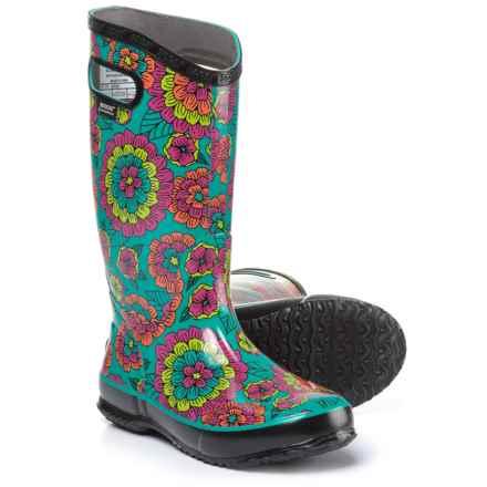 Bogs Footwear Pansies Rain Boots - Waterproof (For Women) in Black Multi - Closeouts