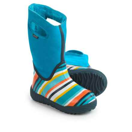 Bogs Footwear Prairie Striped Rain Boots - Waterproof, Suede (For Toddlers) in Electric Blue Multi - Closeouts