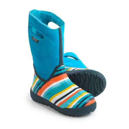 Bogs Footwear Prairie Striped Snow Boots - Waterproof, Suede (For Big Kids) in Electric Blue Multi - Closeouts