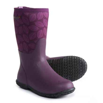 Bogs Footwear Range Leafy Rain Boots - Waterproof (For Girls) in Purple Multi - Closeouts