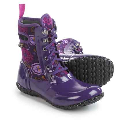 Bogs Footwear Sidney Lace Posey Rain Boots - Waterproof, Insulated (For Big Girls) in Grape Multi - Closeouts
