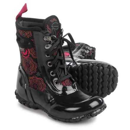Bogs Footwear Sidney Posey Insulated Rain Boots - Waterproof, Lace-Ups (For Little Girls) in Black Multi - Closeouts