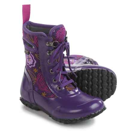 Bogs Footwear Sidney Posey Insulated Rain Boots - Waterproof, Lace-Ups (For Little Girls) in Grape Multi - Closeouts
