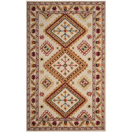 Image of Bohemian-Pattern Multi-Ivory Area Rug - 5x8? Hand-Tufted Wool